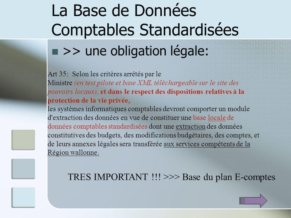 La Base de Données Comptables Standardisées >> une obligation légale: Art 35: Selon les critères arrêtés par le Ministre (en test pilote et base XML t
