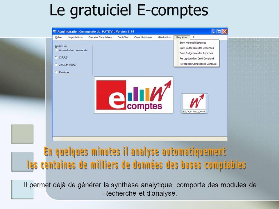 Le gratuiciel E-comptes Il permet déjà de générer la synthèse analytique, comporte des modules de Recherche et danalyse.