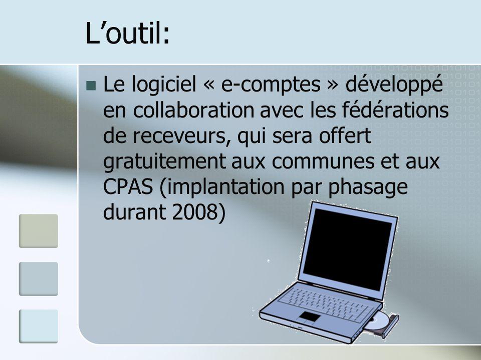 Loutil: Le logiciel « e-comptes » développé en collaboration avec les fédérations de receveurs, qui sera offert gratuitement aux communes et aux CPAS