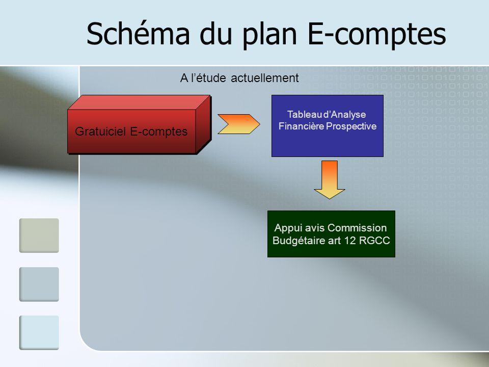 Schéma du plan E-comptes Gratuiciel E-comptes A létude actuellement Tableau dAnalyse Financière Prospective Appui avis Commission Budgétaire art 12 RG
