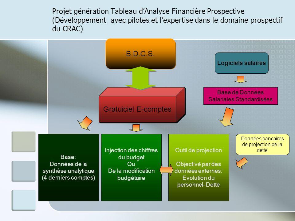 Projet génération Tableau dAnalyse Financière Prospective (Développement avec pilotes et lexpertise dans le domaine prospectif du CRAC) B.D.C.S. Gratu