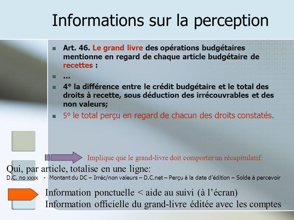 Informations sur la perception Art. 46. Le grand livre des opérations budgétaires mentionne en regard de chaque article budgétaire de recettes : … 4°