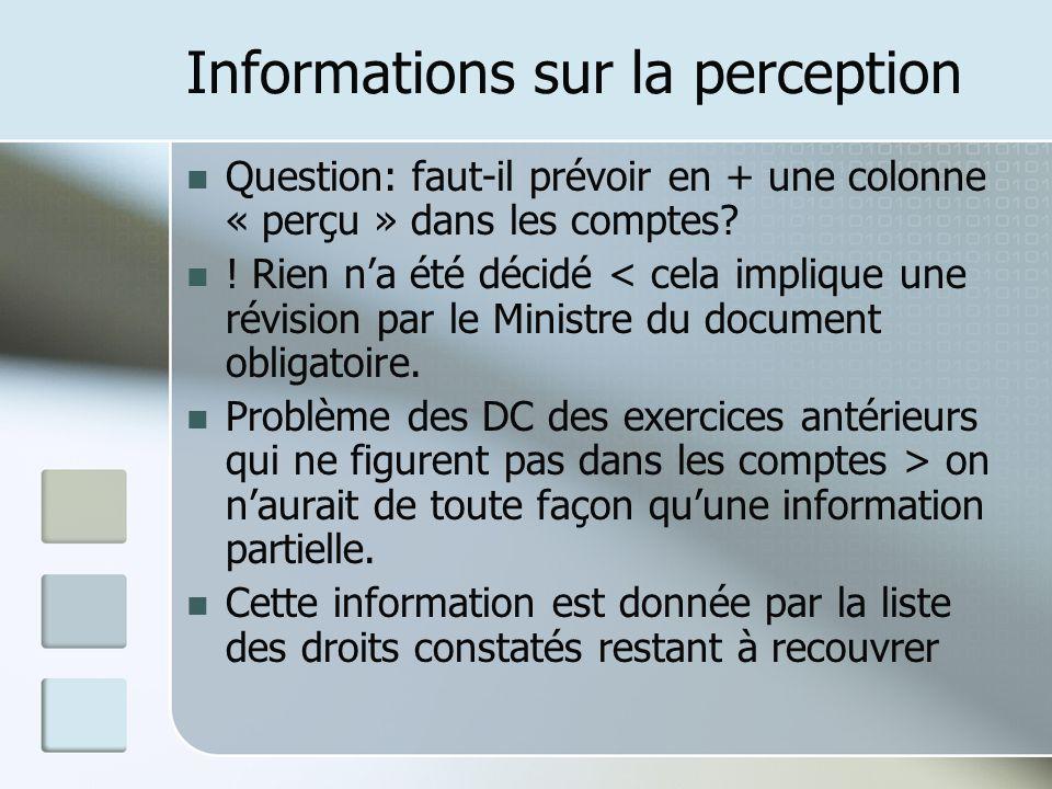 Informations sur la perception Question: faut-il prévoir en + une colonne « perçu » dans les comptes? ! Rien na été décidé < cela implique une révisio