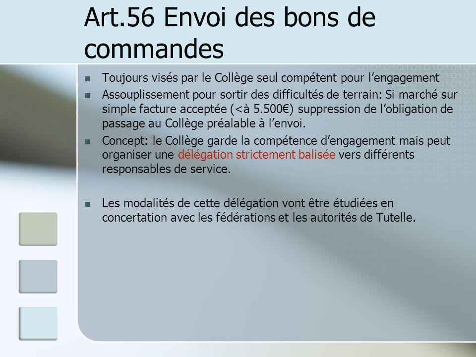 Art.56 Envoi des bons de commandes Toujours visés par le Collège seul compétent pour lengagement Assouplissement pour sortir des difficultés de terrai
