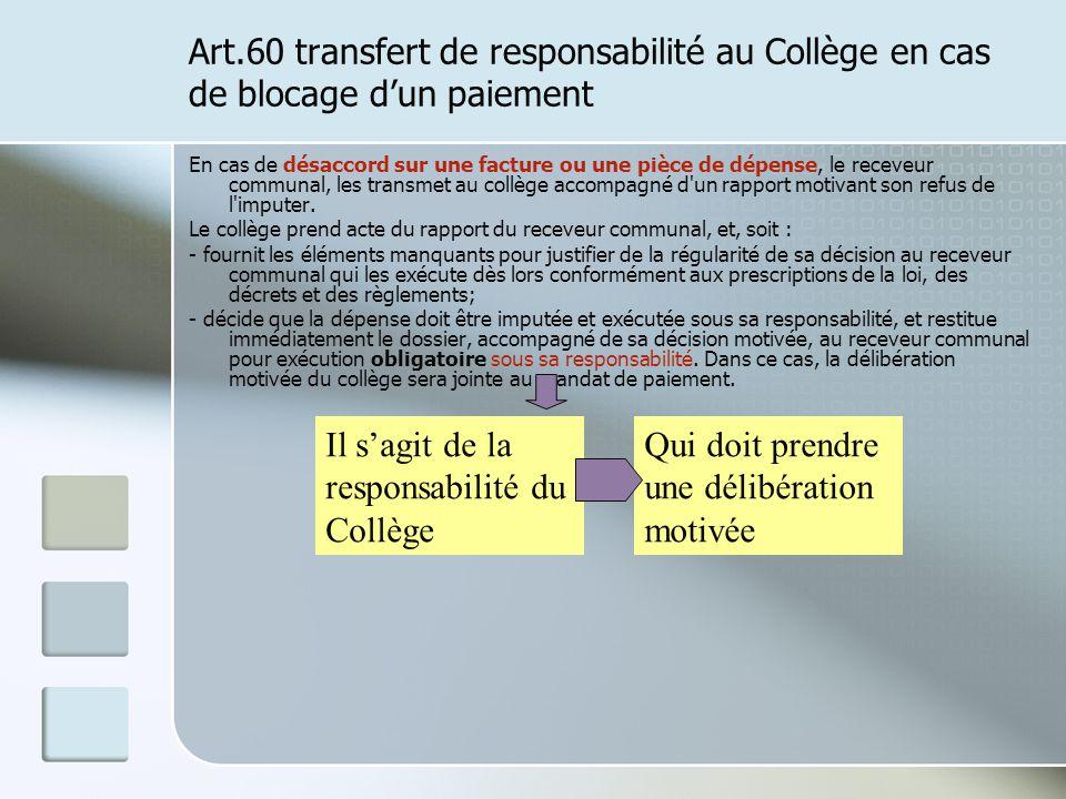 Art.60 transfert de responsabilité au Collège en cas de blocage dun paiement En cas de désaccord sur une facture ou une pièce de dépense, le receveur