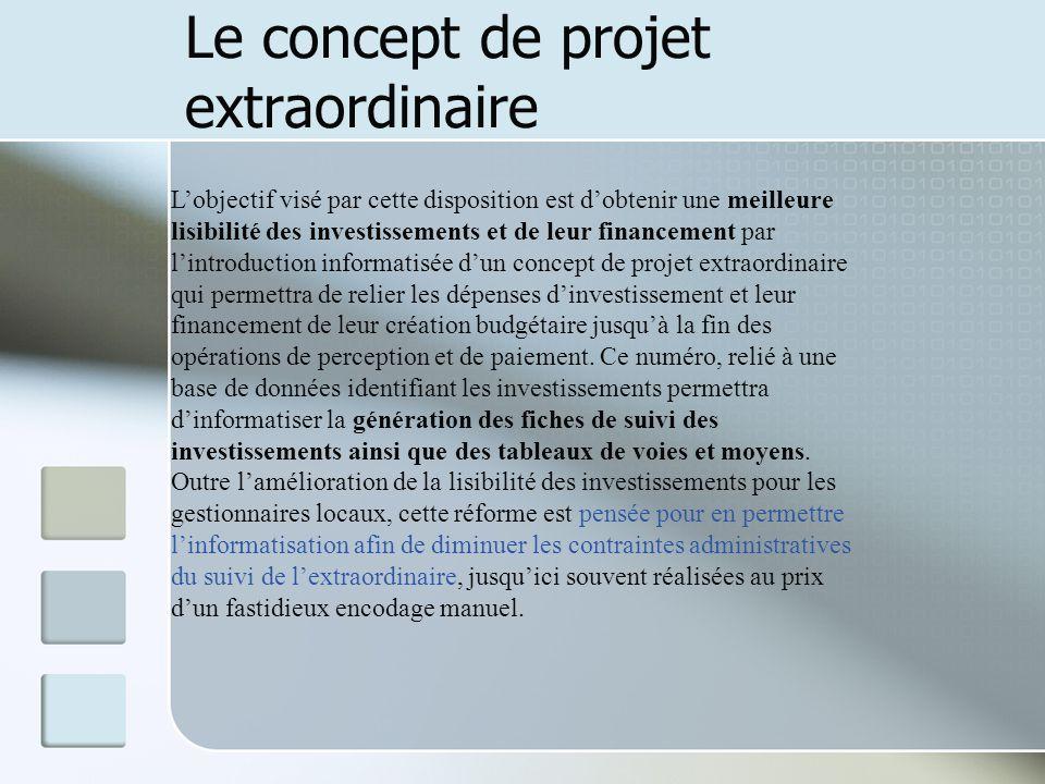 Le concept de projet extraordinaire Lobjectif visé par cette disposition est dobtenir une meilleure lisibilité des investissements et de leur financem