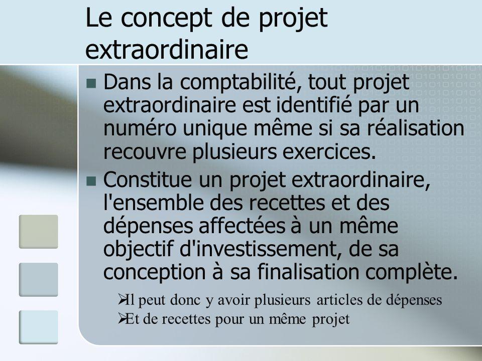 Le concept de projet extraordinaire Dans la comptabilité, tout projet extraordinaire est identifié par un numéro unique même si sa réalisation recouvr