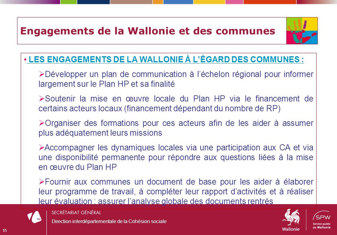 Engagements de la Wallonie et des communes LES ENGAGEMENTS DE LA WALLONIE À LÉGARD DES COMMUNES : Développer un plan de communication à léchelon régio