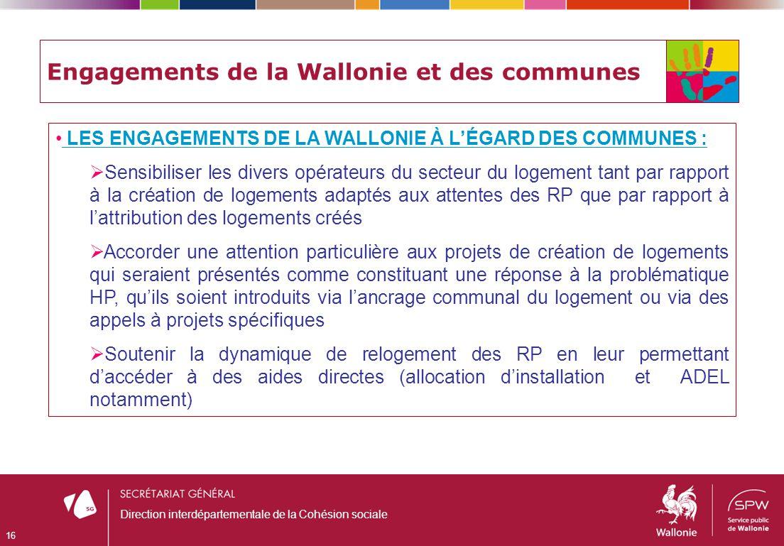 Engagements de la Wallonie et des communes LES ENGAGEMENTS DE LA WALLONIE À LÉGARD DES COMMUNES : Sensibiliser les divers opérateurs du secteur du log