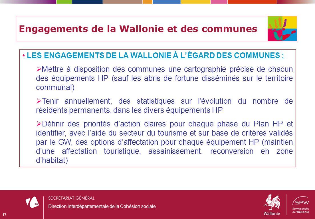 Engagements de la Wallonie et des communes LES ENGAGEMENTS DE LA WALLONIE À LÉGARD DES COMMUNES : Mettre à disposition des communes une cartographie p