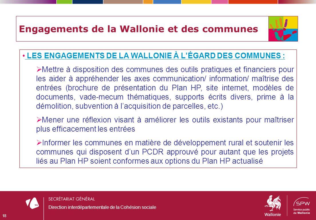 Engagements de la Wallonie et des communes LES ENGAGEMENTS DE LA WALLONIE À LÉGARD DES COMMUNES : Mettre à disposition des communes des outils pratiqu
