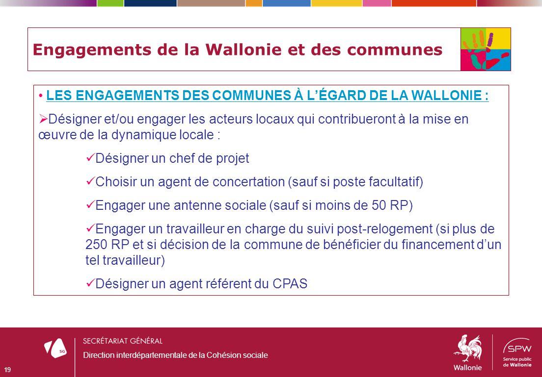 Engagements de la Wallonie et des communes LES ENGAGEMENTS DES COMMUNES À LÉGARD DE LA WALLONIE : Désigner et/ou engager les acteurs locaux qui contri