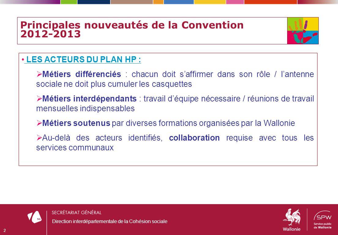 Principales nouveautés de la Convention 2012-2013 LES ACTEURS DU PLAN HP : Métiers différenciés : chacun doit saffirmer dans son rôle / lantenne socia