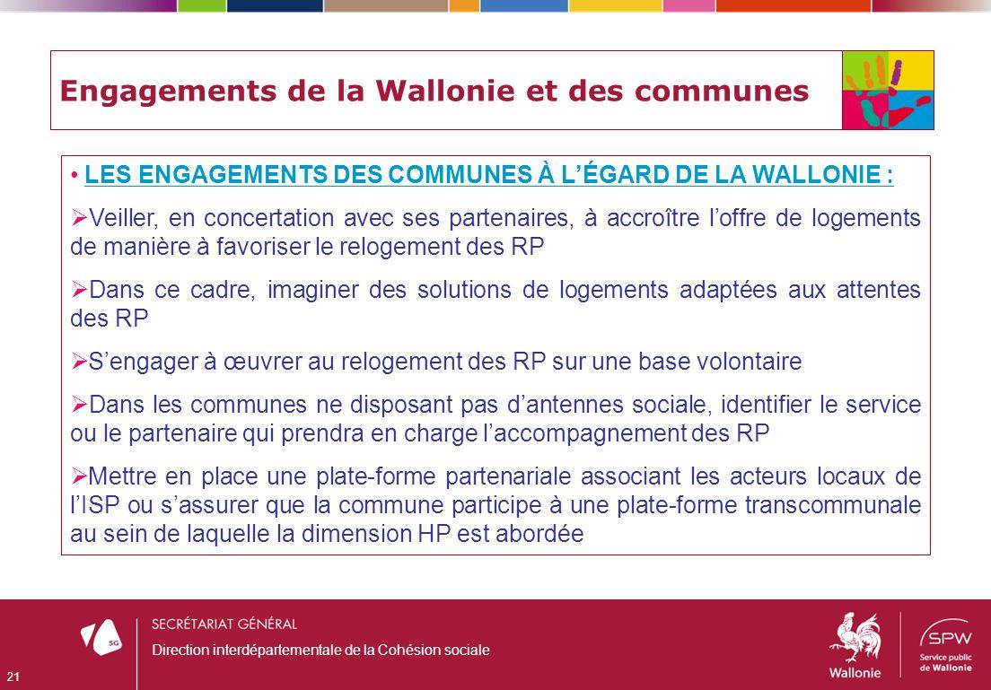 Engagements de la Wallonie et des communes LES ENGAGEMENTS DES COMMUNES À LÉGARD DE LA WALLONIE : Veiller, en concertation avec ses partenaires, à acc
