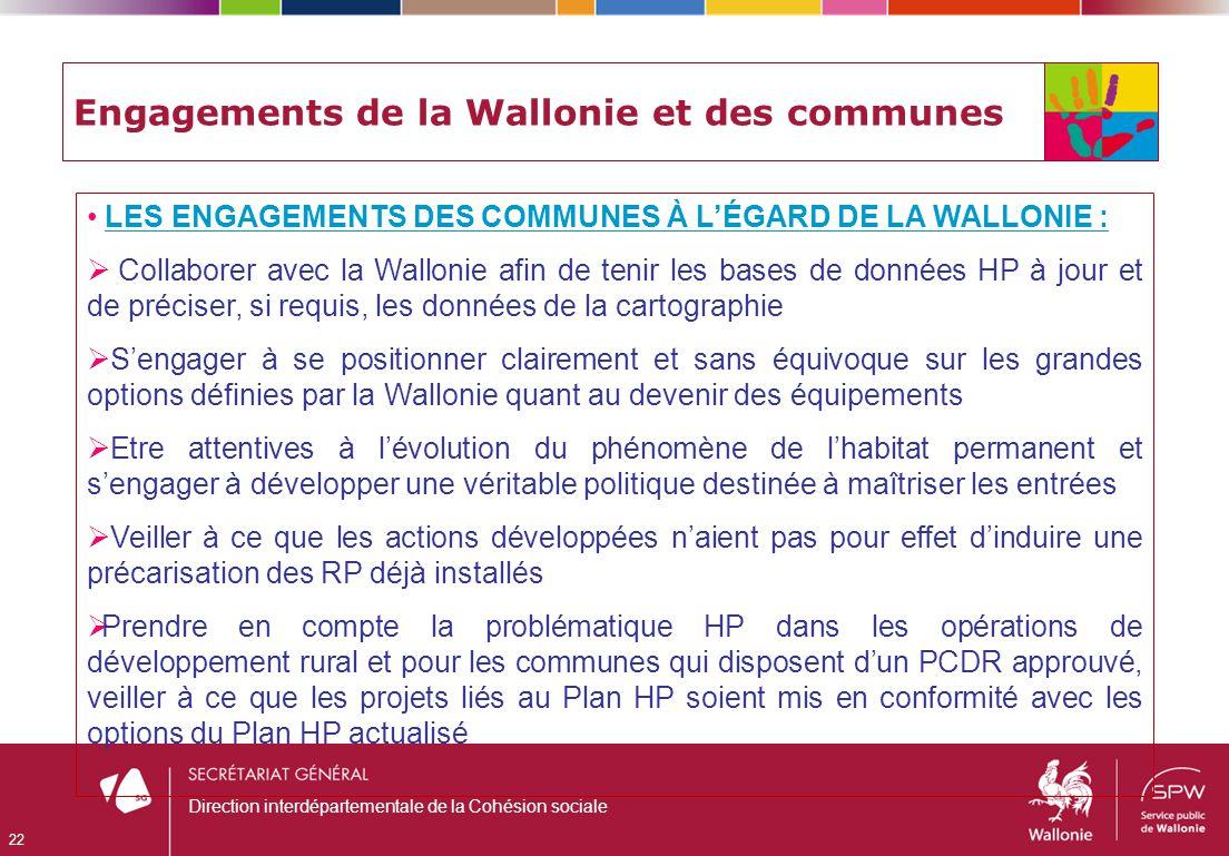 Engagements de la Wallonie et des communes LES ENGAGEMENTS DES COMMUNES À LÉGARD DE LA WALLONIE : Collaborer avec la Wallonie afin de tenir les bases