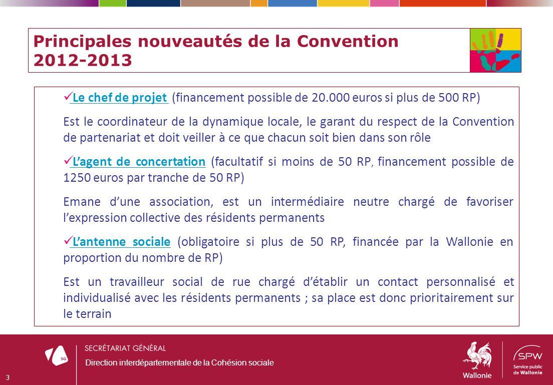Principales nouveautés de la Convention 2012-2013 Le chef de projet (financement possible de 20.000 euros si plus de 500 RP) Est le coordinateur de la