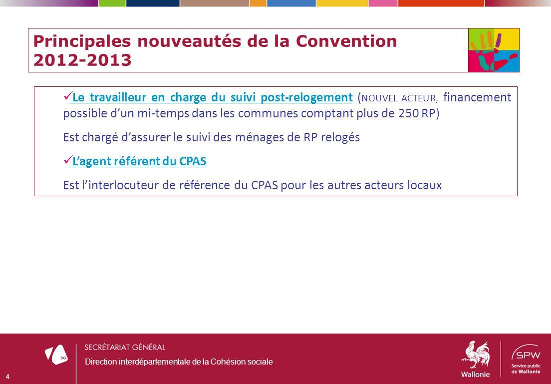 Principales nouveautés de la Convention 2012-2013 Le travailleur en charge du suivi post-relogement ( NOUVEL ACTEUR, financement possible dun mi-temps