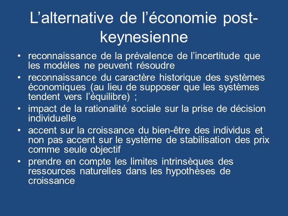 Lalternative de léconomie post- keynesienne reconnaissance de la prévalence de lincertitude que les modèles ne peuvent résoudre reconnaissance du caractère historique des systèmes économiques (au lieu de supposer que les systèmes tendent vers léquilibre) ; impact de la rationalité sociale sur la prise de décision individuelle accent sur la croissance du bien-être des individus et non pas accent sur le système de stabilisation des prix comme seule objectif prendre en compte les limites intrinsèques des ressources naturelles dans les hypothèses de croissance
