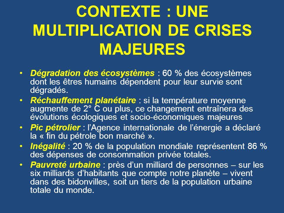CONTEXTE : UNE MULTIPLICATION DE CRISES MAJEURES Dégradation des écosystèmes : 60 % des écosystèmes dont les êtres humains dépendent pour leur survie sont dégradés.