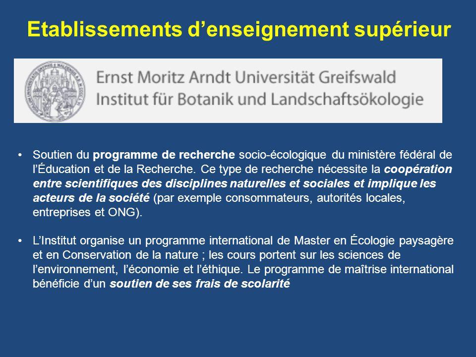 Soutien du programme de recherche socio-écologique du ministère fédéral de lÉducation et de la Recherche.