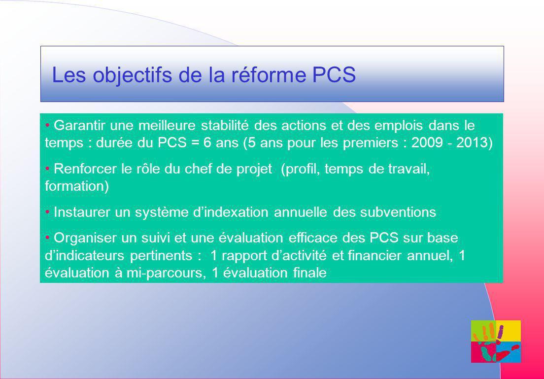 Les objectifs de la réforme PCS Garantir une meilleure stabilité des actions et des emplois dans le temps : durée du PCS = 6 ans (5 ans pour les premiers : 2009 - 2013) Renforcer le rôle du chef de projet (profil, temps de travail, formation) Instaurer un système dindexation annuelle des subventions Organiser un suivi et une évaluation efficace des PCS sur base dindicateurs pertinents : 1 rapport dactivité et financier annuel, 1 évaluation à mi-parcours, 1 évaluation finale