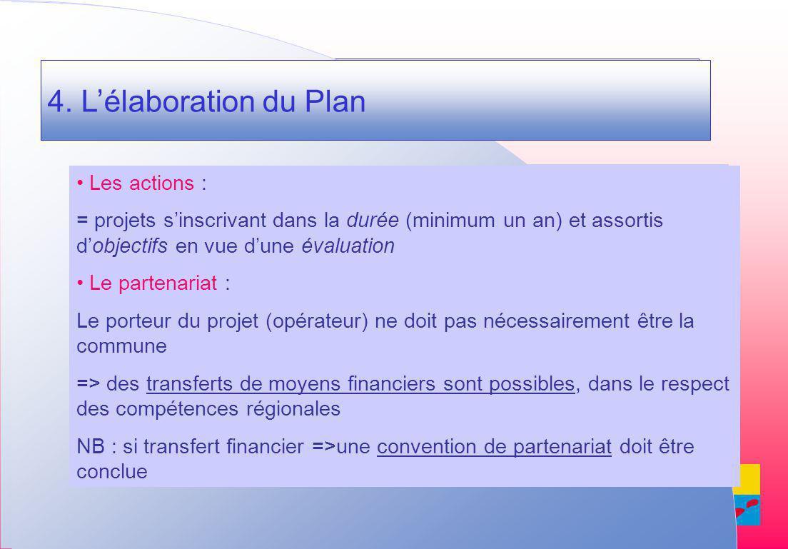 4. L élaboration du Plan 4.
