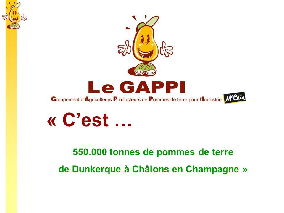 « Cest … 550.000 tonnes de pommes de terre de Dunkerque à Châlons en Champagne »