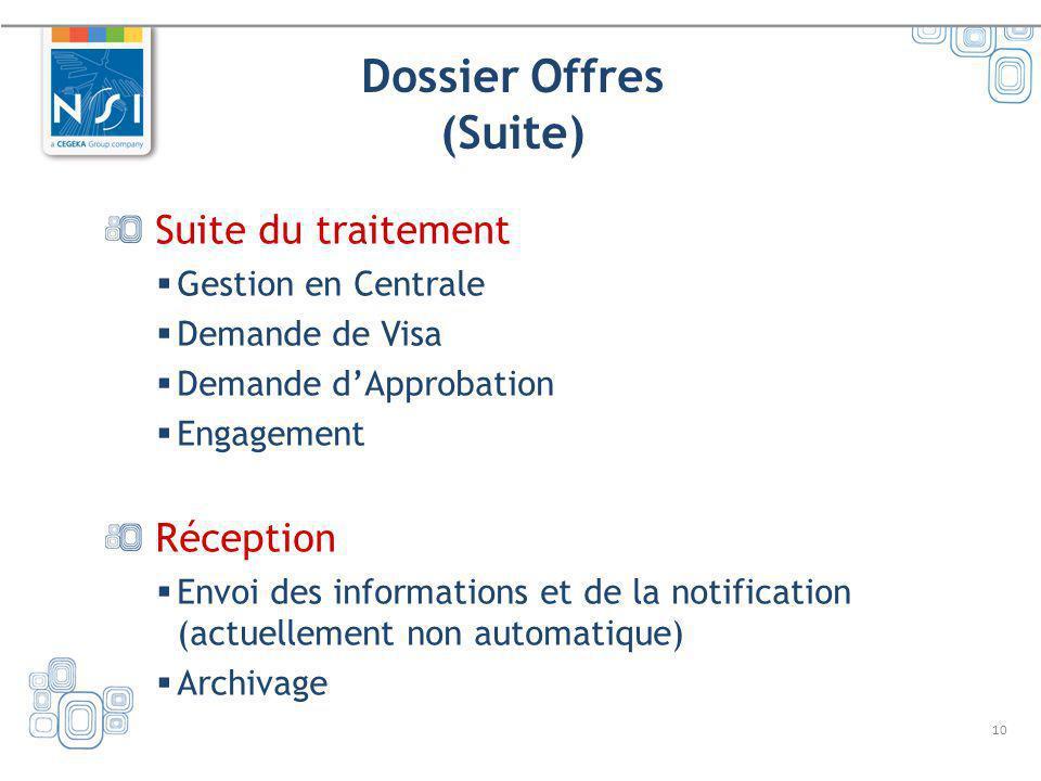 10 Dossier Offres (Suite) Suite du traitement Gestion en Centrale Demande de Visa Demande dApprobation Engagement Réception Envoi des informations et