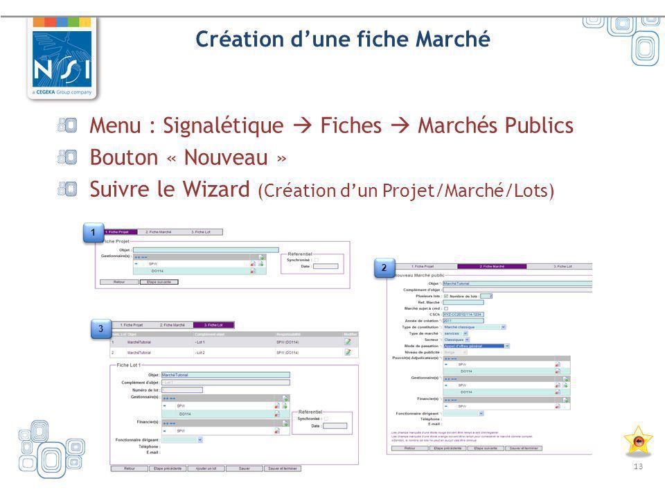 13 Création dune fiche Marché Menu : Signalétique Fiches Marchés Publics Bouton « Nouveau » Suivre le Wizard (Création dun Projet/Marché/Lots) 1 1 3 3