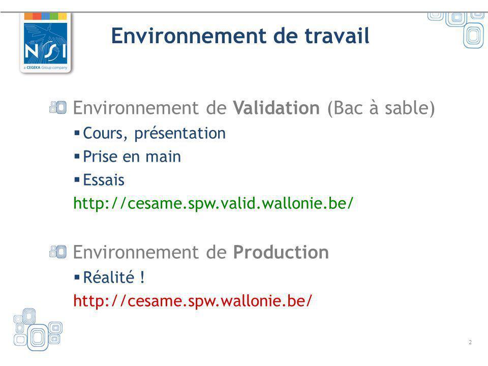 2 Environnement de travail Environnement de Validation (Bac à sable) Cours, présentation Prise en main Essais http://cesame.spw.valid.wallonie.be/ Env
