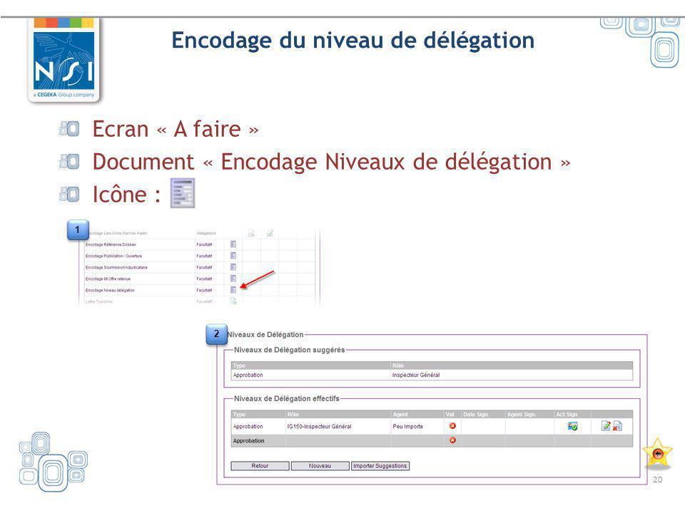 20 Encodage du niveau de délégation Ecran « A faire » Document « Encodage Niveaux de délégation » Icône : 1 1 2 2