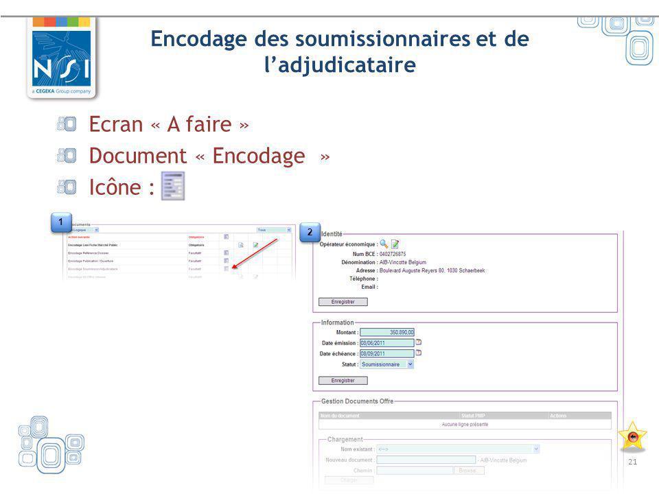 21 Encodage des soumissionnaires et de ladjudicataire Ecran « A faire » Document « Encodage » Icône : 1 1 2 2