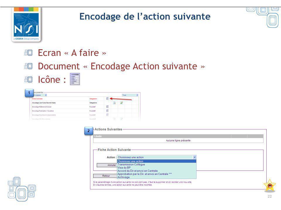 22 Encodage de laction suivante Ecran « A faire » Document « Encodage Action suivante » Icône : 1 1 2 2