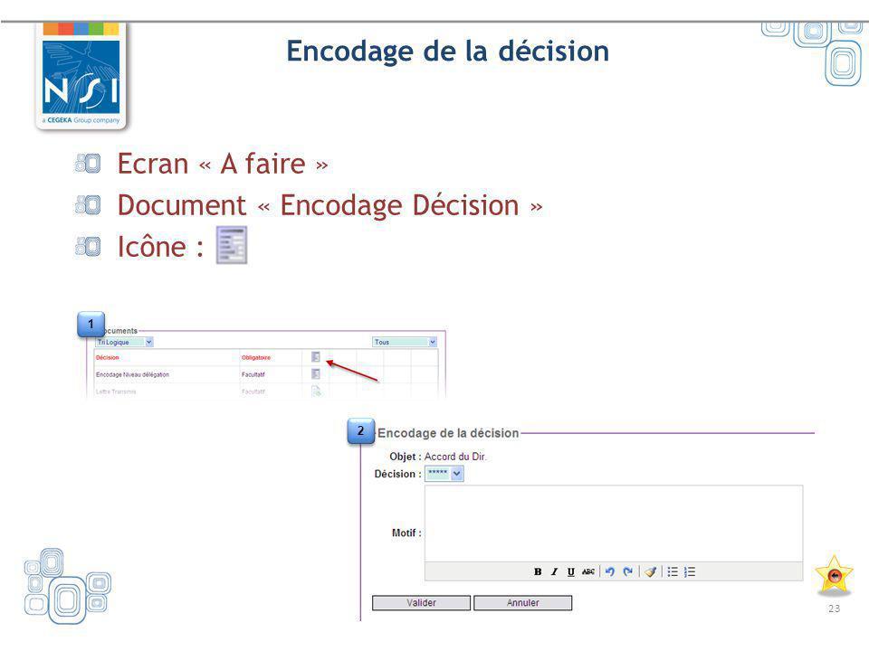 23 Encodage de la décision Ecran « A faire » Document « Encodage Décision » Icône : 1 1 2 2