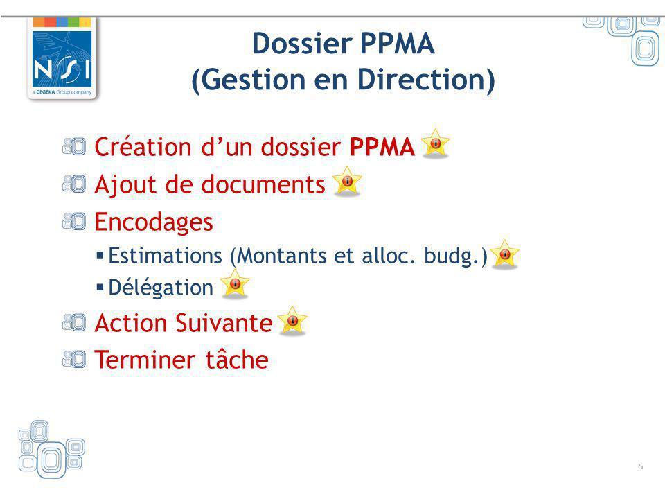 5 Dossier PPMA (Gestion en Direction) Création dun dossier PPMA Ajout de documents Encodages Estimations (Montants et alloc. budg.) Délégation Action
