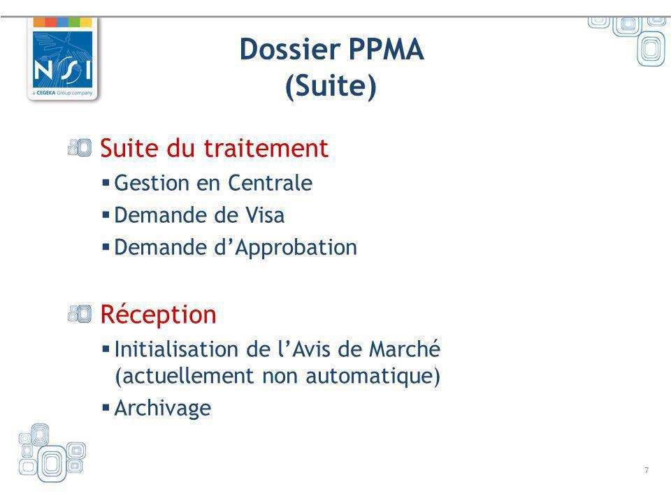 7 Dossier PPMA (Suite) Suite du traitement Gestion en Centrale Demande de Visa Demande dApprobation Réception Initialisation de lAvis de Marché (actue
