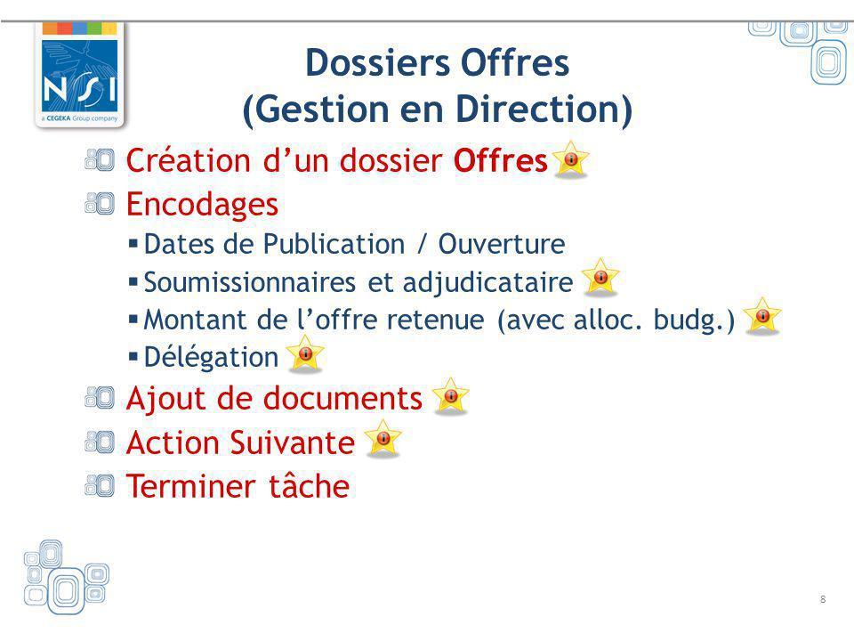 8 Dossiers Offres (Gestion en Direction) Création dun dossier Offres Encodages Dates de Publication / Ouverture Soumissionnaires et adjudicataire Mont