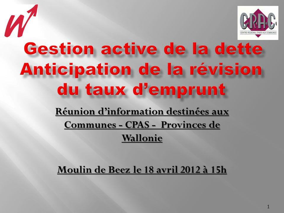 Réunion dinformation destinées aux Communes - CPAS - Provinces de Wallonie Moulin de Beez le 18 avril 2012 à 15h 1