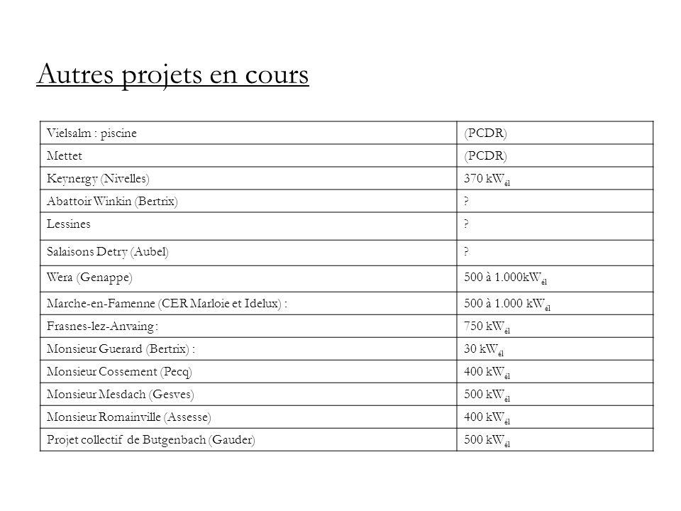 Autres projets en cours Vielsalm : piscine(PCDR) Mettet(PCDR) Keynergy (Nivelles)370 kW él Abattoir Winkin (Bertrix)? Lessines? Salaisons Detry (Aubel