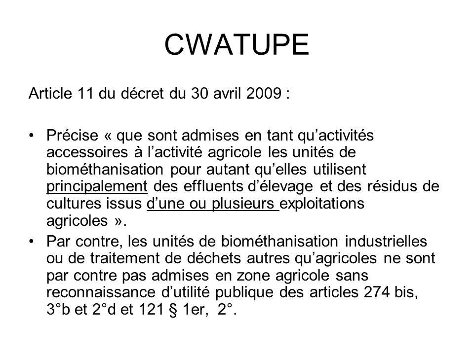 CWATUPE Article 11 du décret du 30 avril 2009 : Précise « que sont admises en tant quactivités accessoires à lactivité agricole les unités de biométha