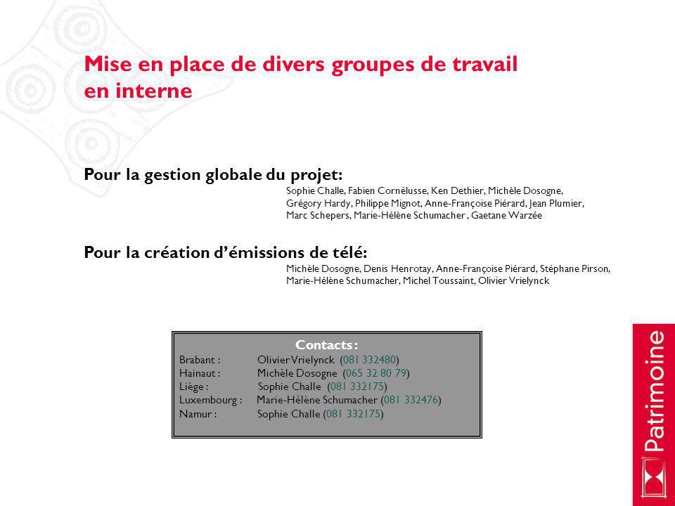 Mise en place de divers groupes de travail en interne Pour la gestion globale du projet: Sophie Challe, Fabien Cornélusse, Ken Dethier, Michèle Dosogn