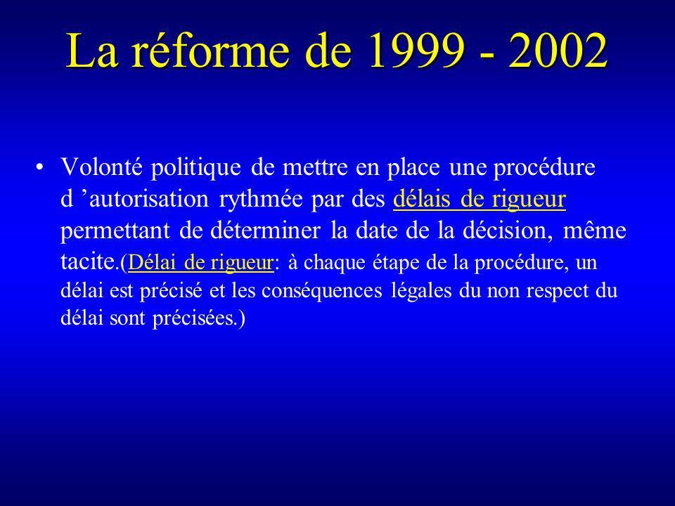 La réforme de 1999 - 2002 Volonté politique de mettre en place une procédure d autorisation rythmée par des délais de rigueur permettant de déterminer la date de la décision, même tacite.(Délai de rigueur: à chaque étape de la procédure, un délai est précisé et les conséquences légales du non respect du délai sont précisées.)