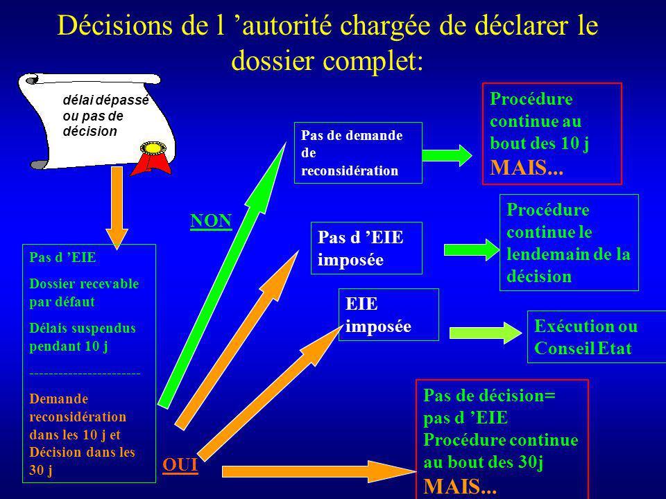 Décisions de l autorité chargée de déclarer le dossier complet: Procédure continue au bout des 10 j MAIS...