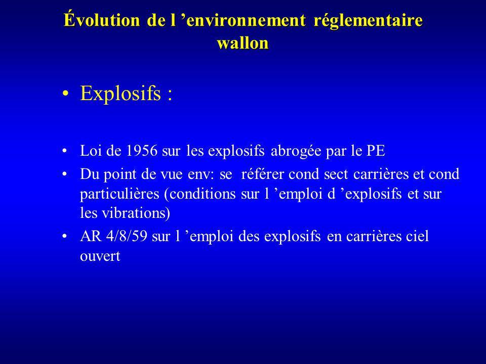 Évolution de l environnement réglementaire wallon Explosifs : Loi de 1956 sur les explosifs abrogée par le PE Du point de vue env: se référer cond sect carrières et cond particulières (conditions sur l emploi d explosifs et sur les vibrations) AR 4/8/59 sur l emploi des explosifs en carrières ciel ouvert