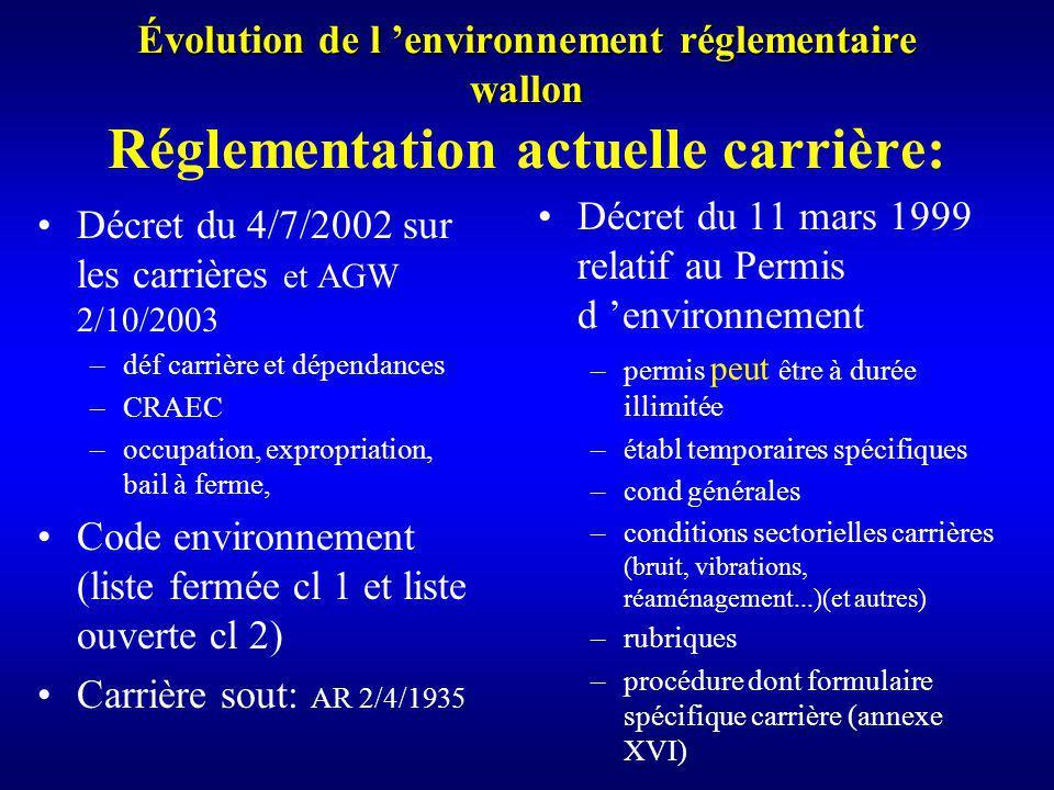 Évolution de l environnement réglementaire wallon Évolution de l environnement réglementaire wallon Réglementation actuelle carrière: Décret du 4/7/2002 sur les carrières et AGW 2/10/2003 –déf carrière et dépendances –CRAEC –occupation, expropriation, bail à ferme, Code environnement (liste fermée cl 1 et liste ouverte cl 2) Carrière sout: AR 2/4/1935 Décret du 11 mars 1999 relatif au Permis d environnement –permis peut être à durée illimitée –établ temporaires spécifiques –cond générales –conditions sectorielles carrières (bruit, vibrations, réaménagement...)(et autres) –rubriques –procédure dont formulaire spécifique carrière (annexe XVI)