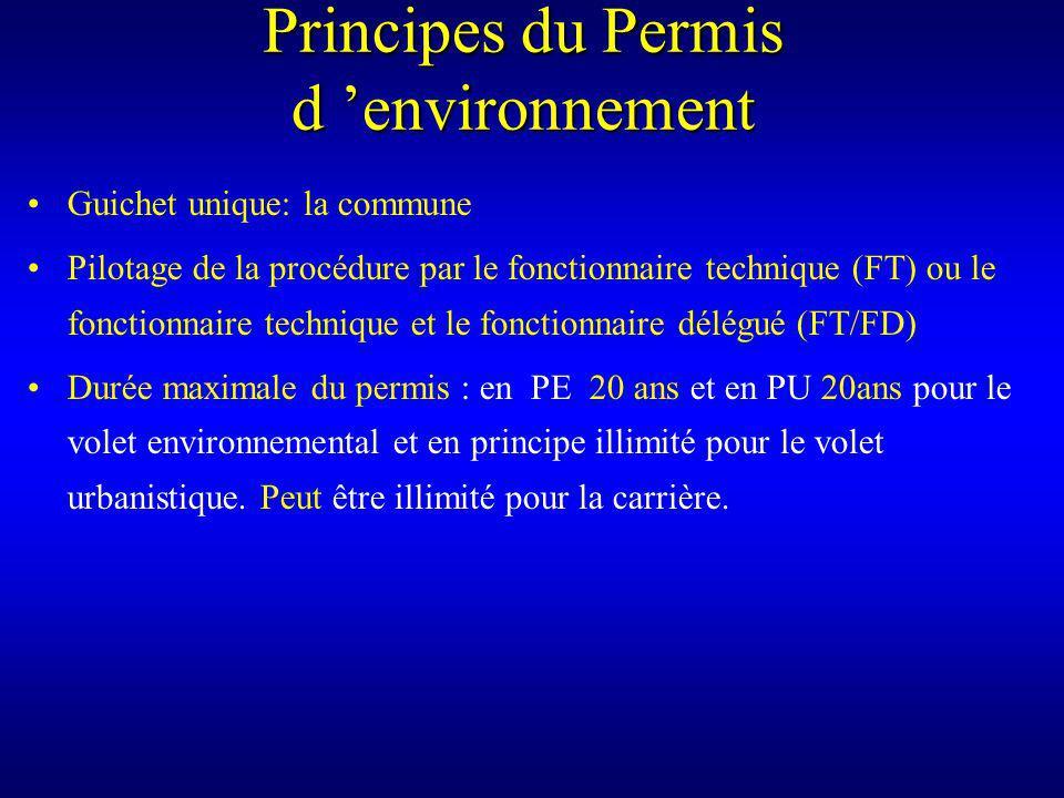 Principes du Permis d environnement Guichet unique: la commune Pilotage de la procédure par le fonctionnaire technique (FT) ou le fonctionnaire technique et le fonctionnaire délégué (FT/FD) Durée maximale du permis : en PE 20 ans et en PU 20ans pour le volet environnemental et en principe illimité pour le volet urbanistique.