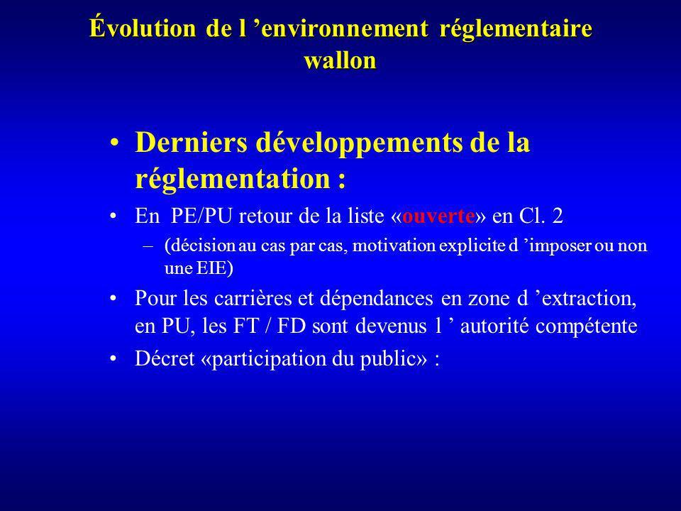Évolution de l environnement réglementaire wallon Derniers développements de la réglementation : En PE/PU retour de la liste «ouverte» en Cl.