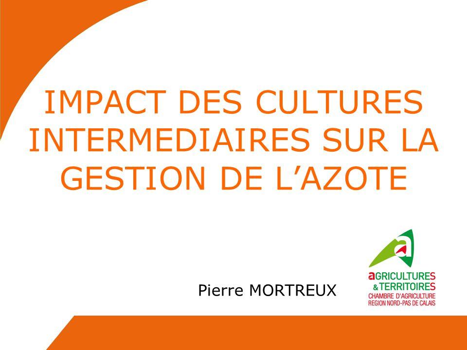 IMPACT DES CULTURES INTERMEDIAIRES SUR LA GESTION DE LAZOTE Pierre MORTREUX