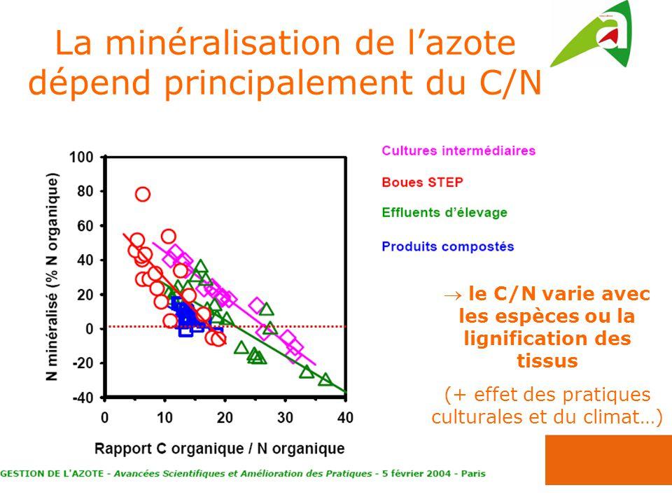 La minéralisation de lazote dépend principalement du C/N le C/N varie avec les espèces ou la lignification des tissus (+ effet des pratiques culturales et du climat…)