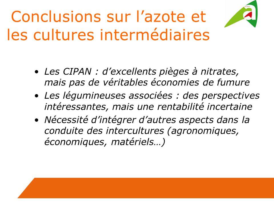 Conclusions sur lazote et les cultures intermédiaires Les CIPAN : dexcellents pièges à nitrates, mais pas de véritables économies de fumure Les légumi